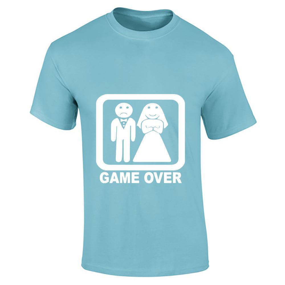mens game over funny stag comic wedding casual short sleeve t shirt lot ebay. Black Bedroom Furniture Sets. Home Design Ideas