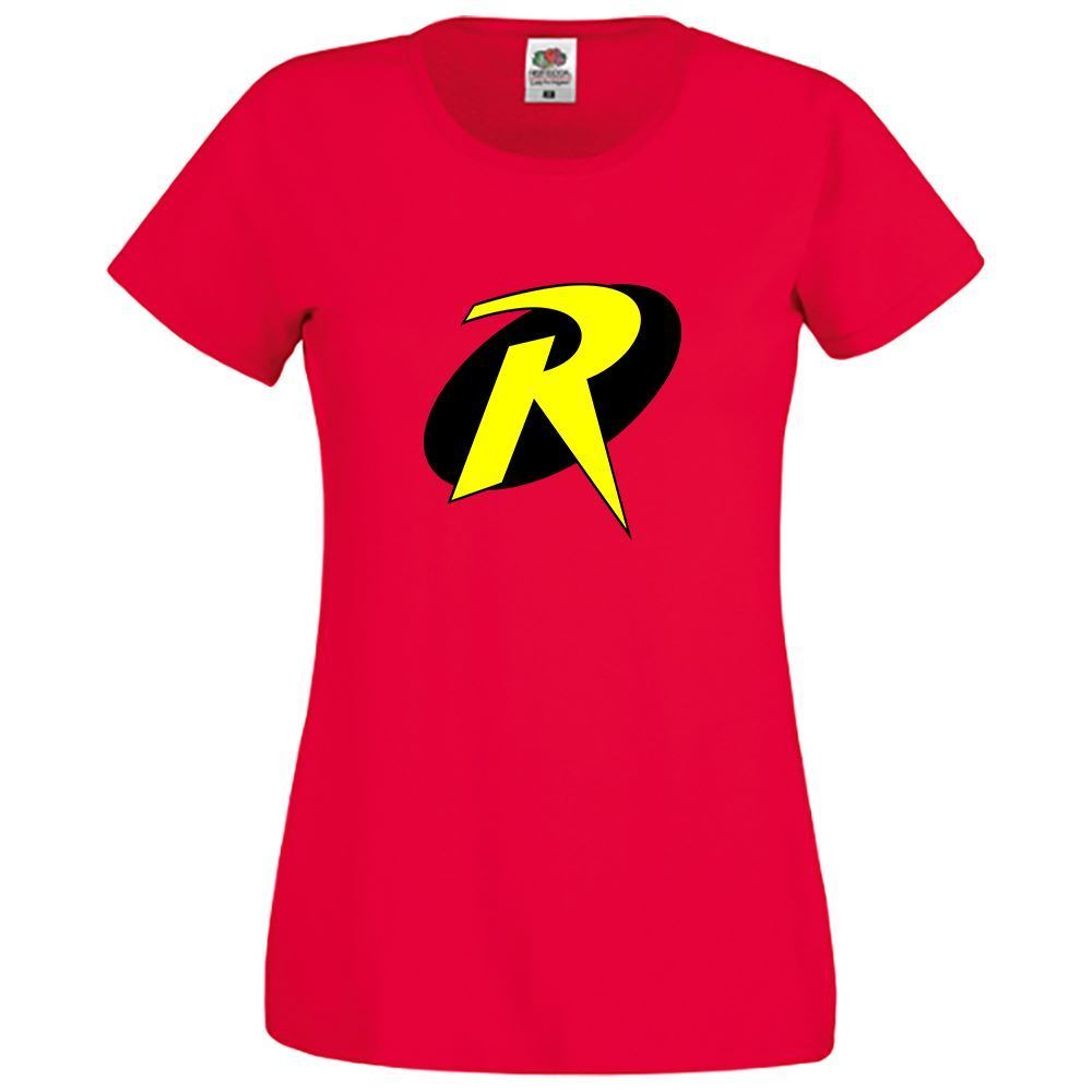 Superhero Robin Logo Casual Womens Girls Novelty Comic Top