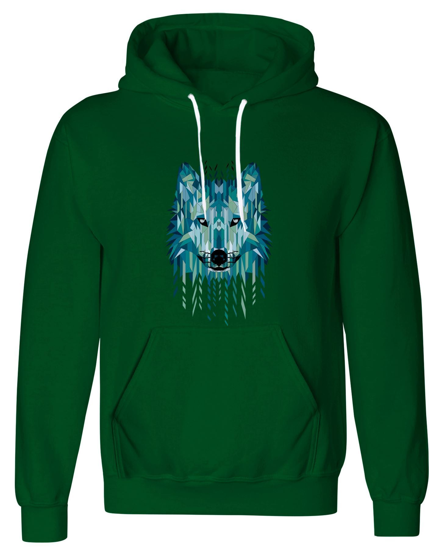 Geometrical design wolf printed pullover fleece hoodie sweatshirt lot