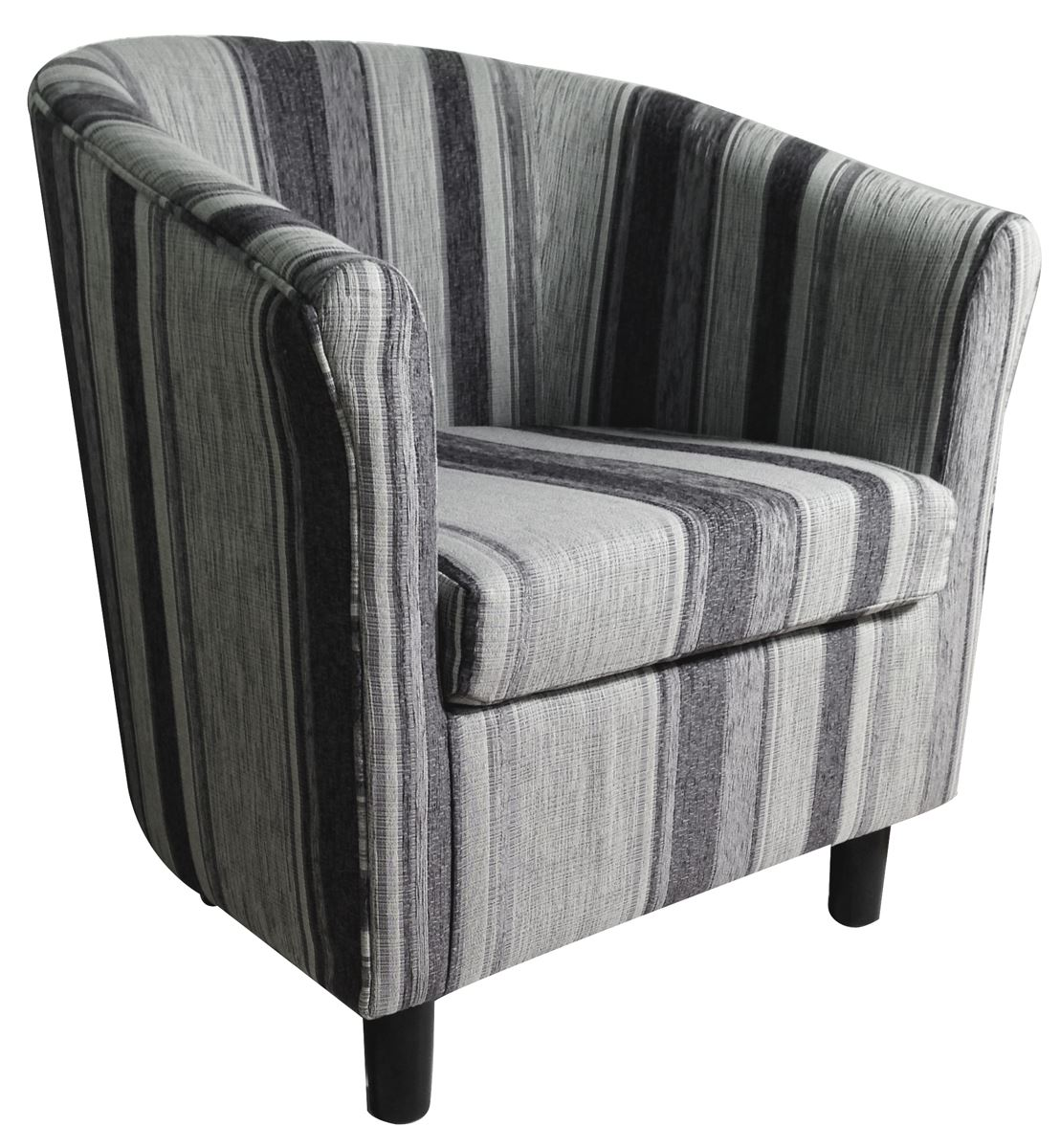New Grey Striped Tub Chair Pattern Home Conservatory Fabric Design Armchair