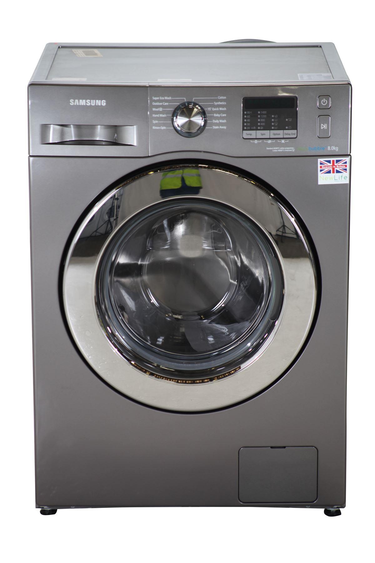 k 564151 samsung 8kg ecobubble washing machine wf80f5e2w4x silver. Black Bedroom Furniture Sets. Home Design Ideas