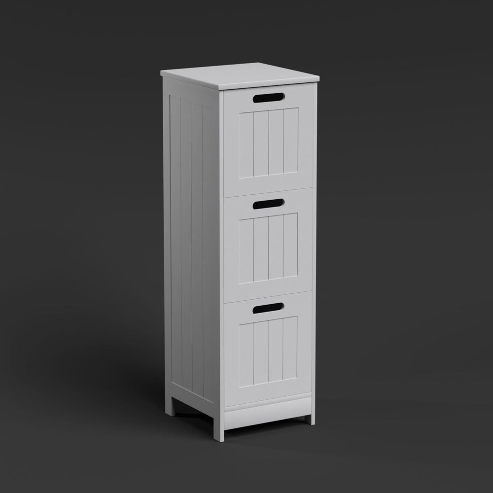 Free standing wall white bathroom storage cabinet unit shelf shelving ebay for White bathroom cabinets free standing