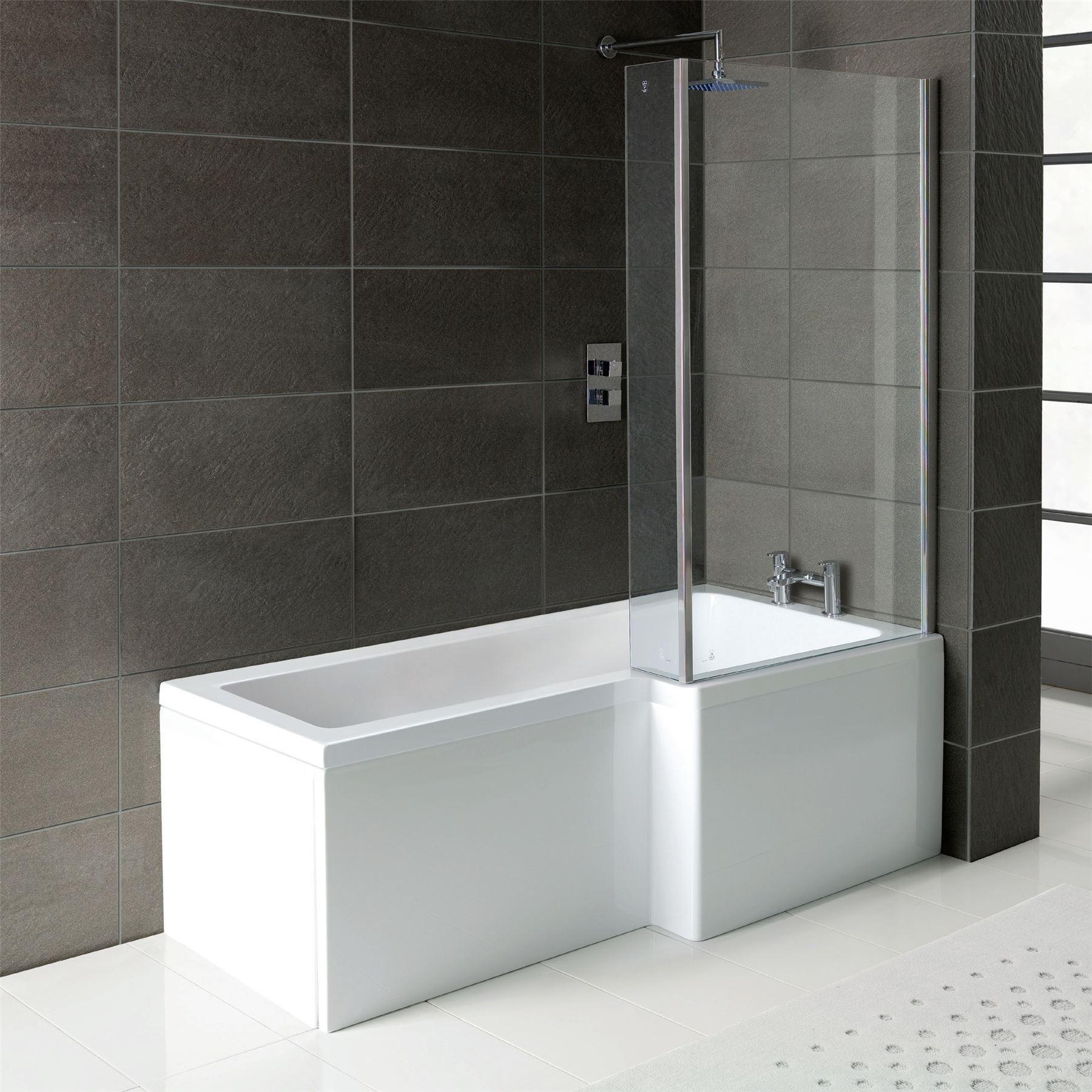 Complete Bathroom Suite L Shape Bath 1700 Shower Screen Square Toilet Sink Ebay