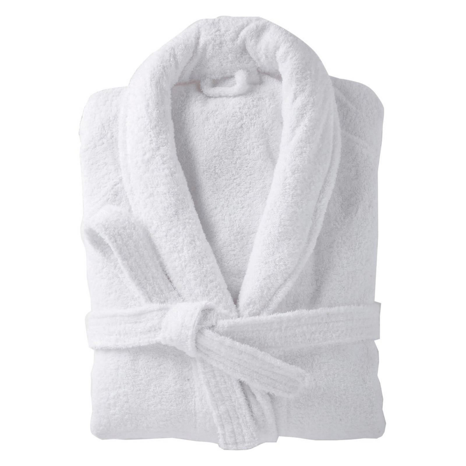 100% Cotton Terry Toweling Shawl Collar White Bathrobe Dressing Gown Bath Robe