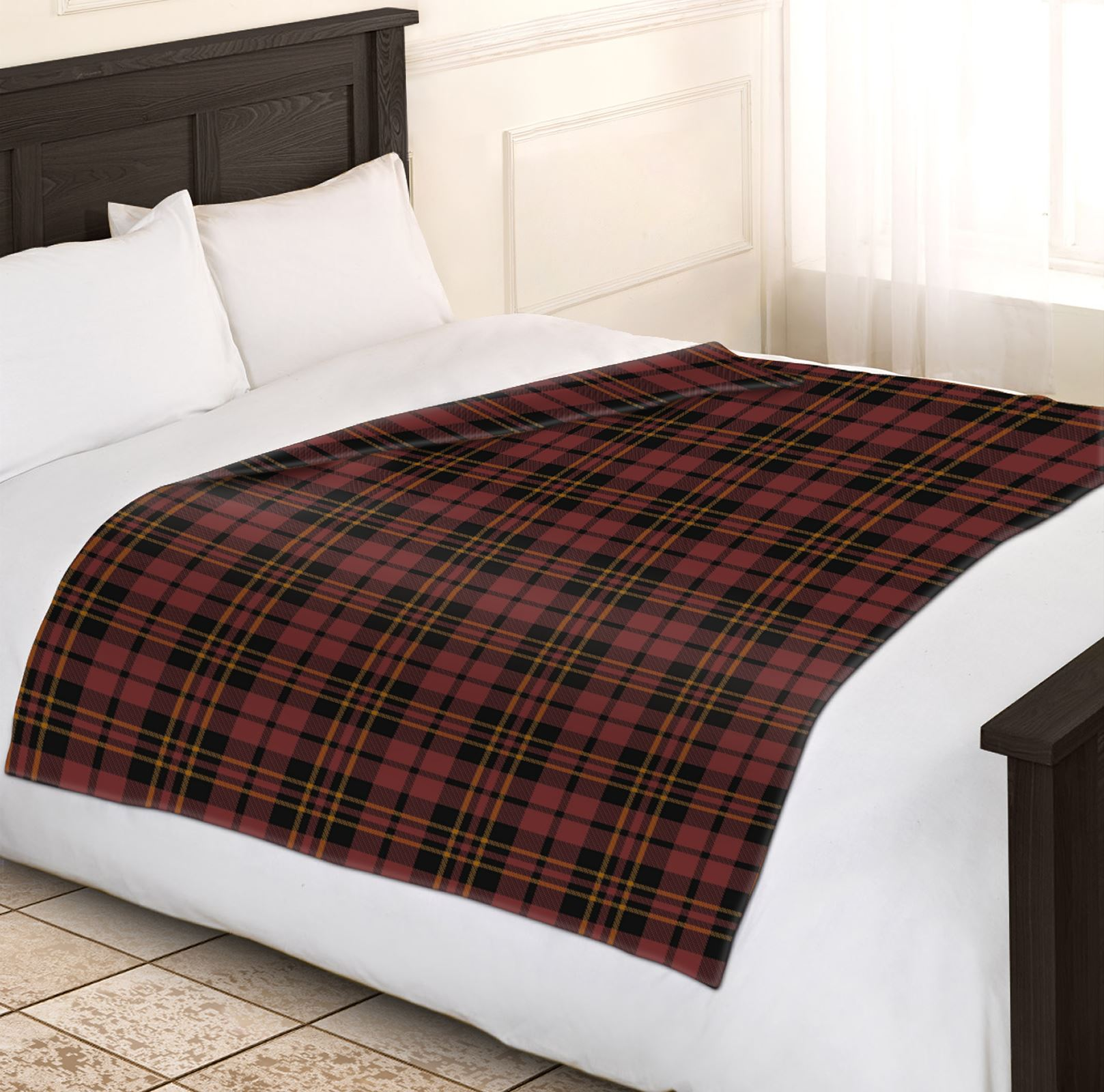 soft warm 200x240cm king size tartan check sofa throw bed. Black Bedroom Furniture Sets. Home Design Ideas