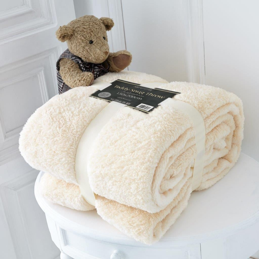 Luxury double size soft fleece blanket teddy bear throws for Soft blankets and throws