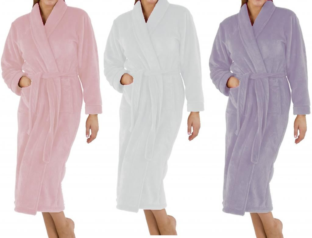 Ladies-Supersoft-Luxurious-Coral-Fleece-Warm-Dressing-Gown-Womens-Bath-Robe