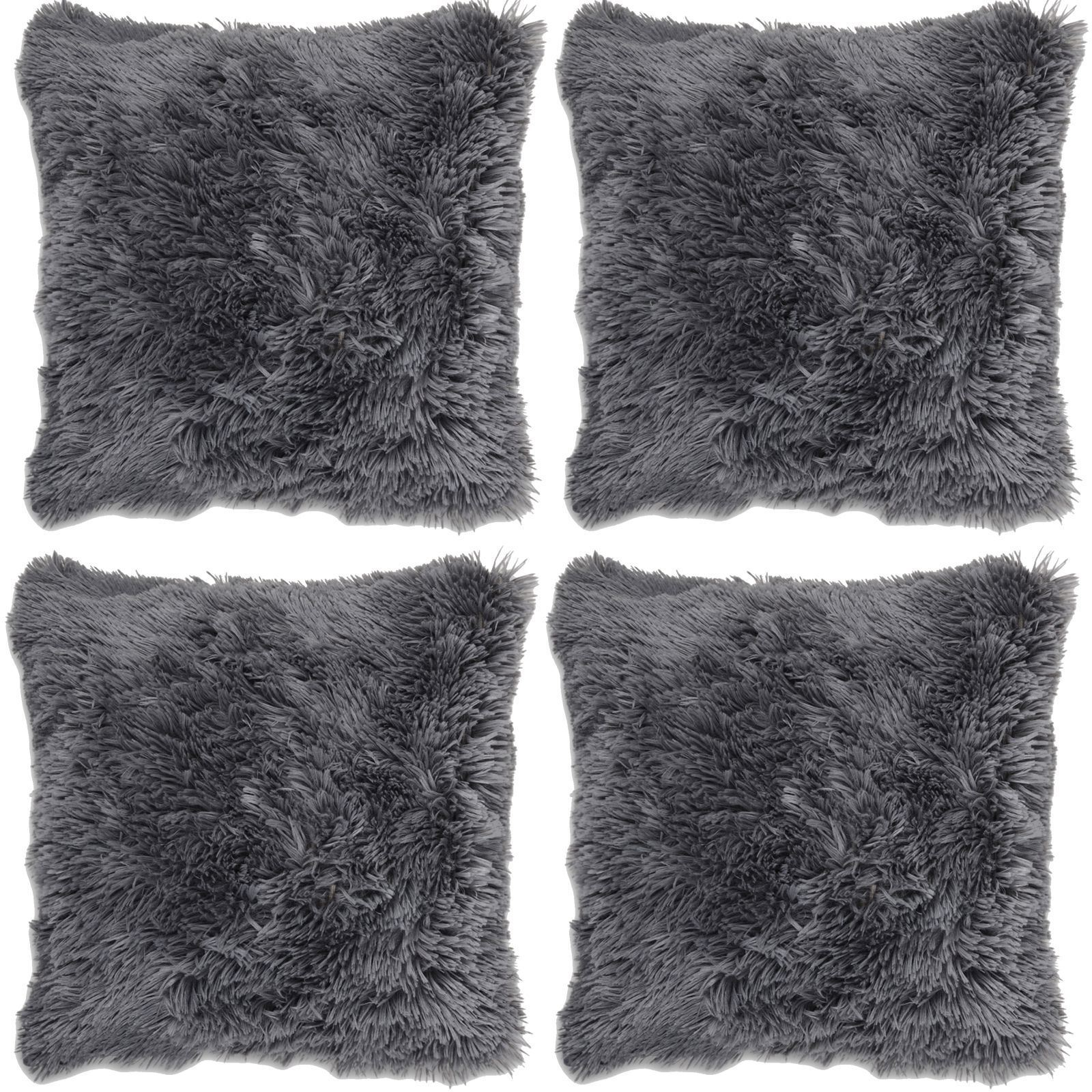 x 4 shaggy super soft faux fur cushion covers cuddly. Black Bedroom Furniture Sets. Home Design Ideas