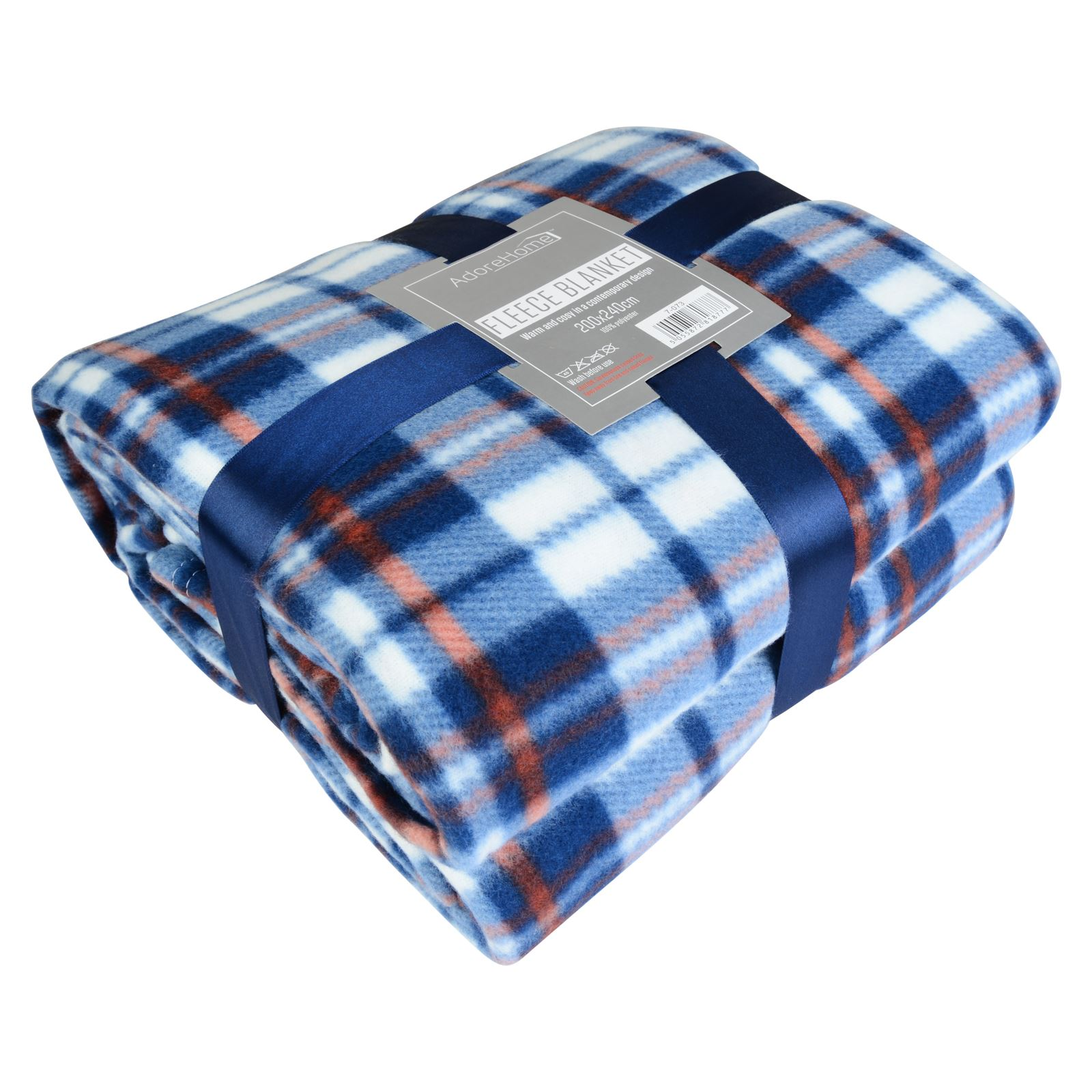 Soft warm 200x240cm king size tartan check sofa throw bed for Blankets king size bed