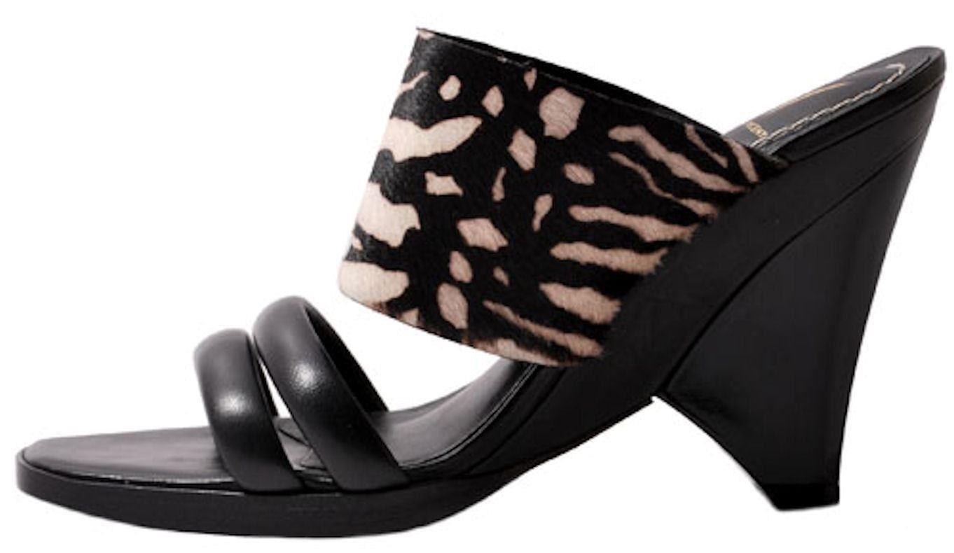 j vincent safari womens black zebra print leather fur slip