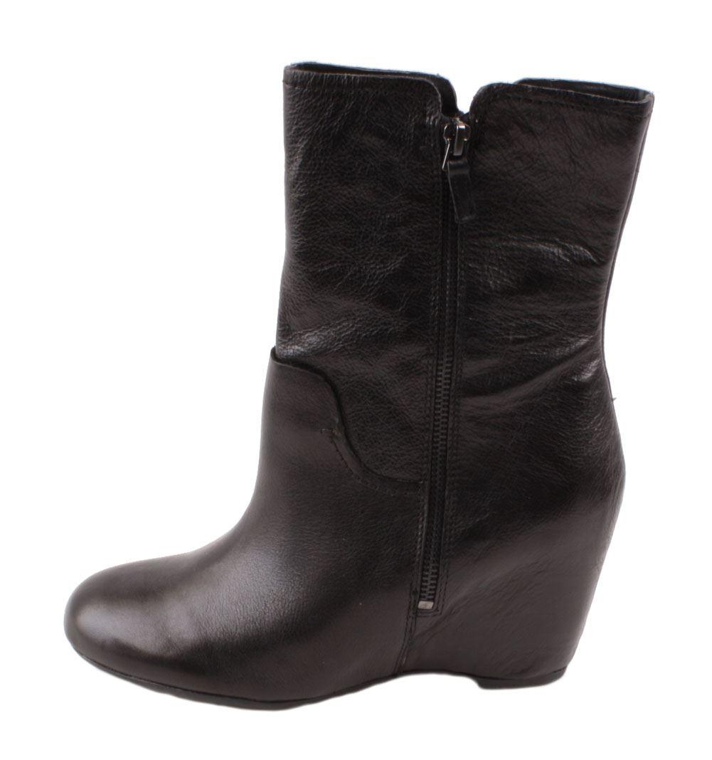franco sarto mercury womens black leather high ankle wedge