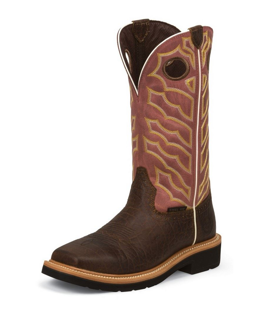 Justin Work Wk4565 Dark Chestnut Stampede Mens Square