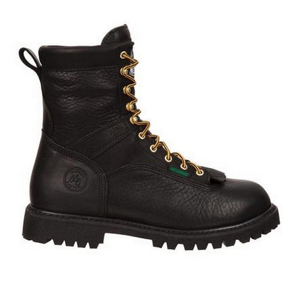 mens black leather waterproof low heel logger work