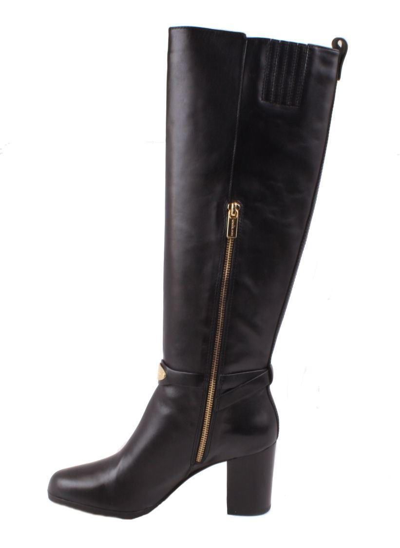 michael kors arley womens black leather knee high dress