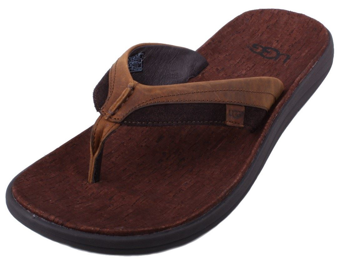 ugg australia tidelands mens grizzly brown suede leather flip flop sandals ebay. Black Bedroom Furniture Sets. Home Design Ideas