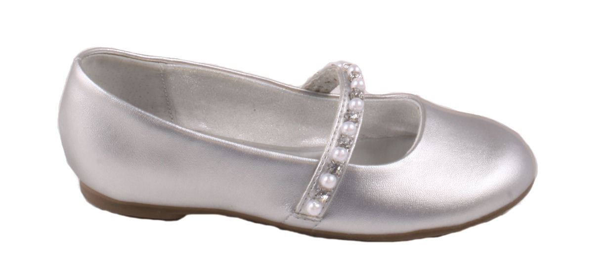 Nina Natasha Girls Toddlers Silver Mary Jane Dress Flat