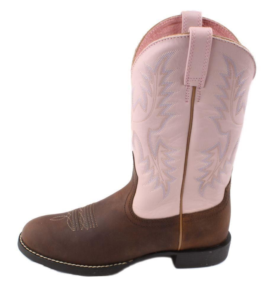 ARIAT Heritage Stockman Womens Brown/Pink Western Boots