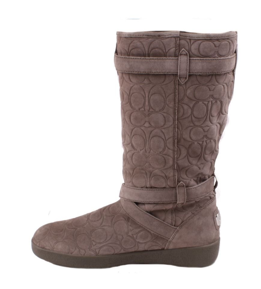 coach thelma womens grey 12cm embossed suede knee high boots