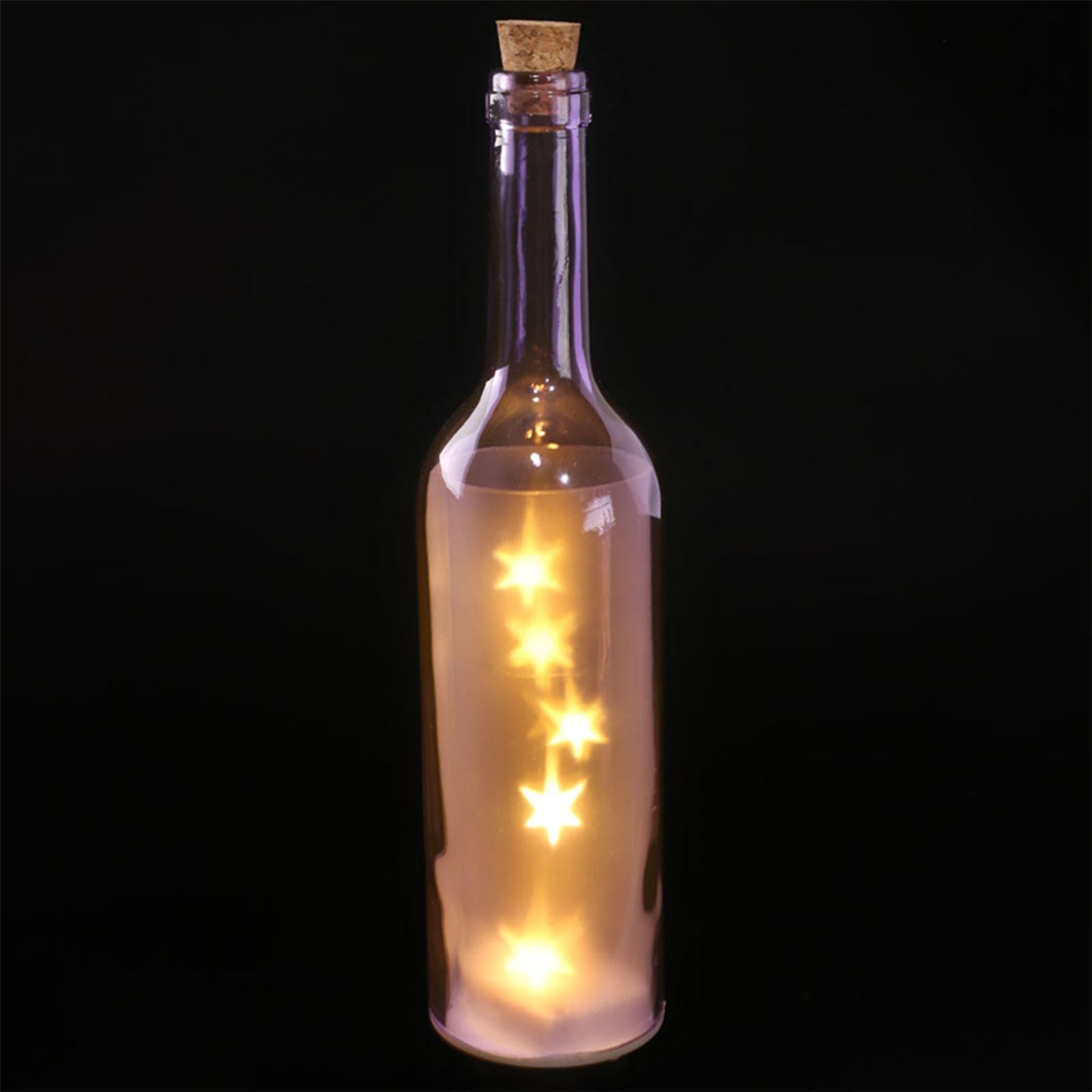 Glass wine bottle led lights 29cm high star effect battery for Glass bottles for wine
