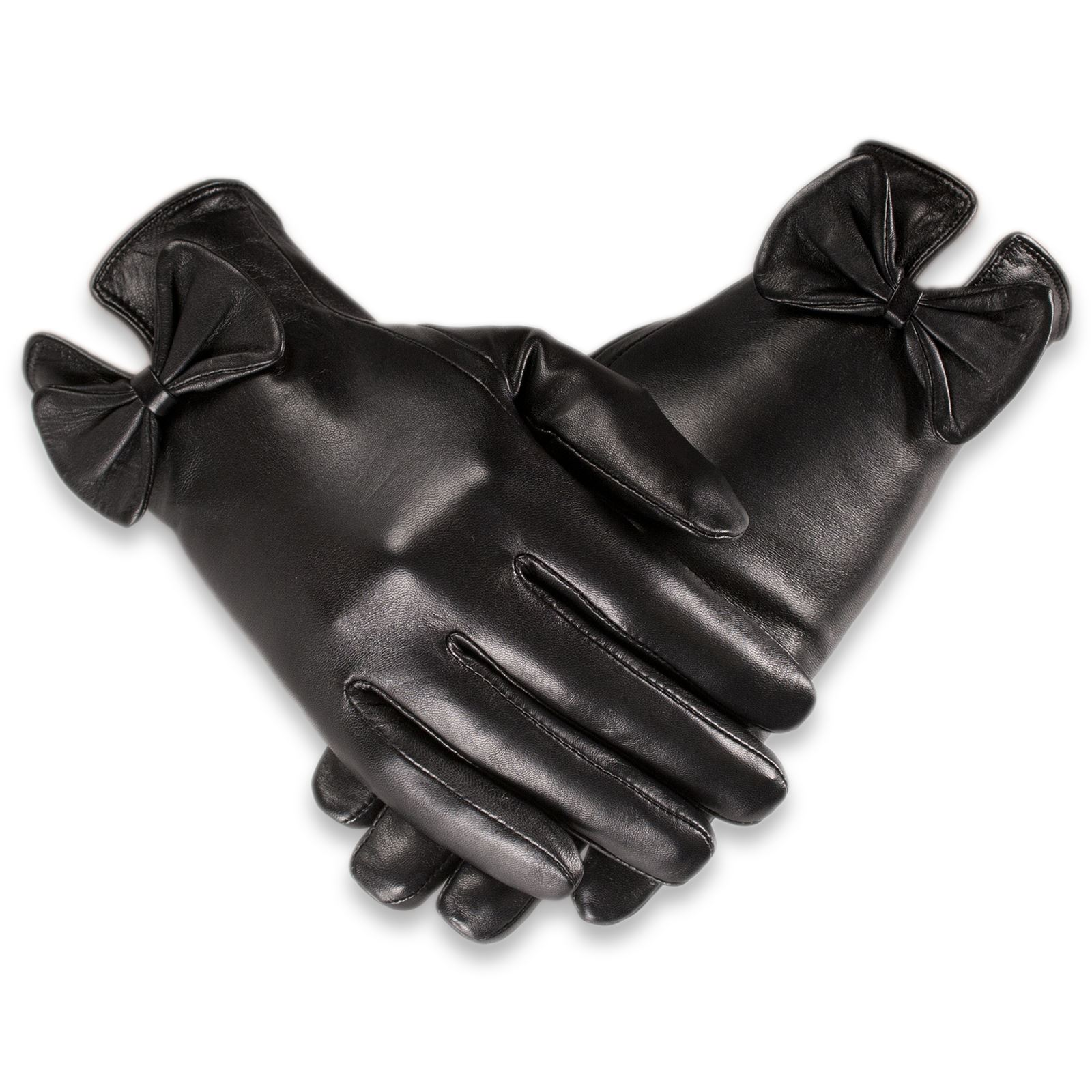 Ladies leather gloves wool lined - Black Leather Gloves Bow Quivano Ladies Leather Gloves Bow Cuff Fleece Lined