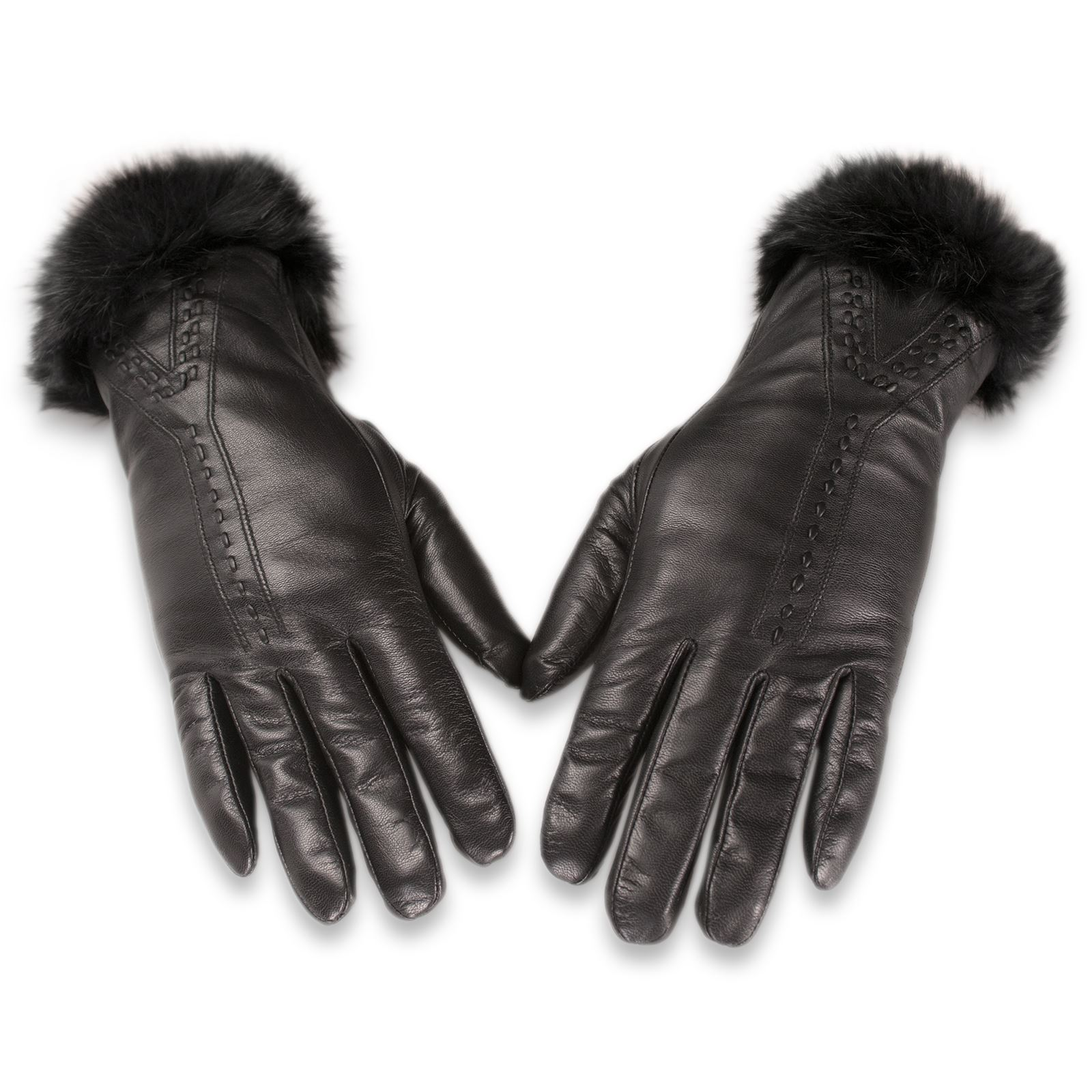 Ladies leather gloves wool lined - Quivano Black Label Premium Ladies Leather Gloves Wool