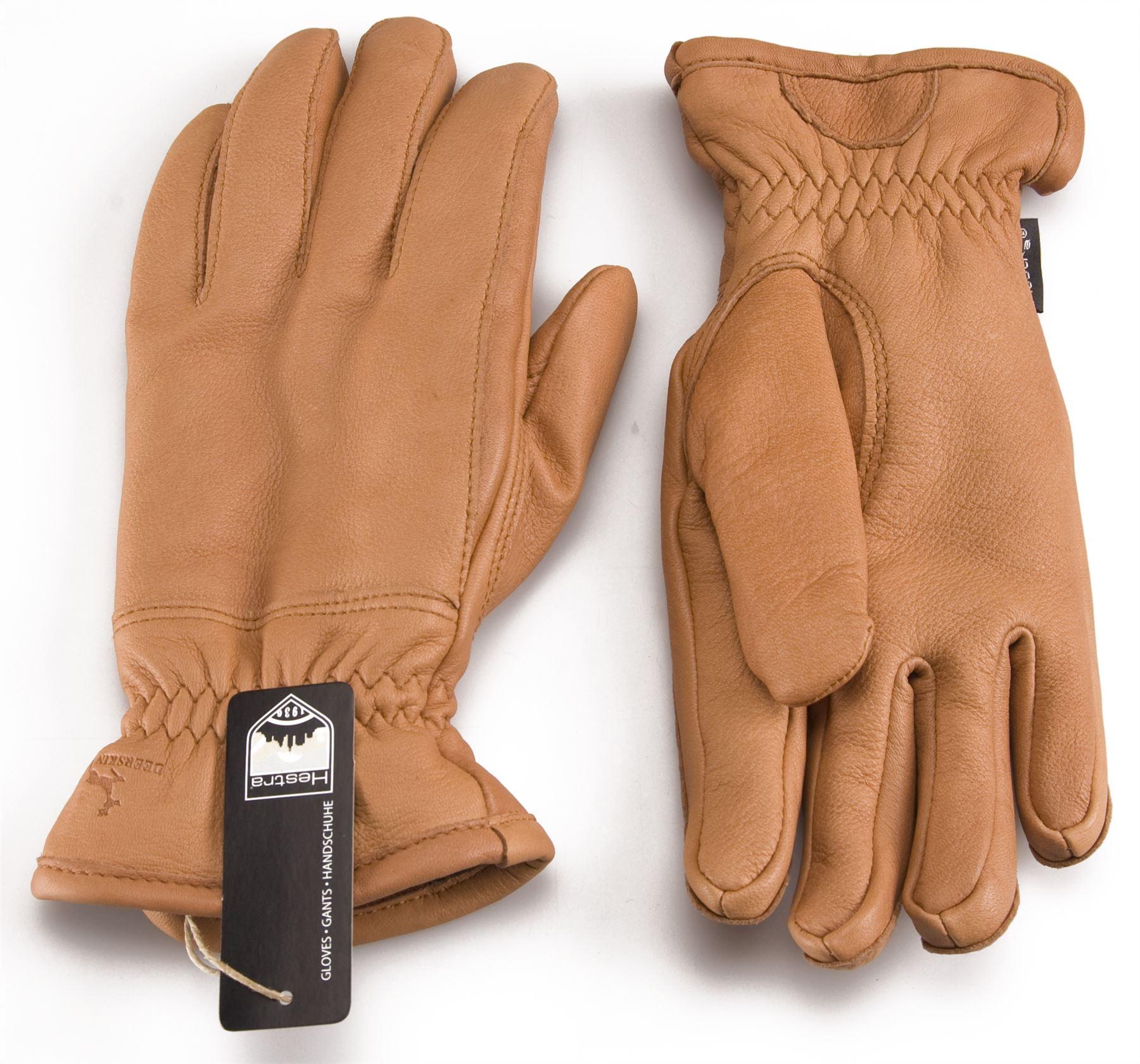 Hestra Premium Mens Deer Skin Leather Gloves Fleece Lined