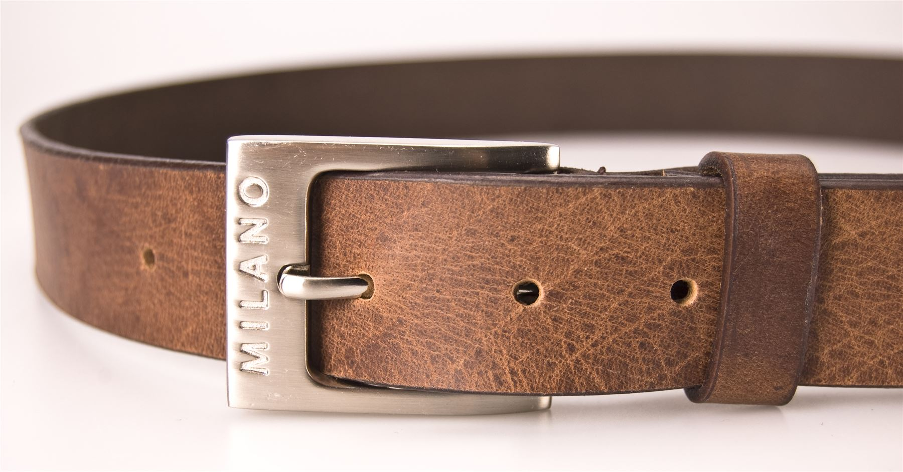 Milano-Mens-Full-Leather-Black-Brown-Belt-Square-Silver-Buckle-Real-Genuine