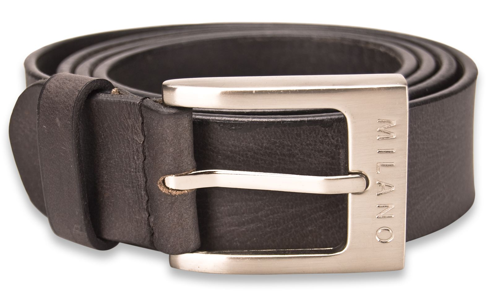 Milano-Mens-Full-Leather-New-Black-Brown-Belt-Square-Silver-Buckle-NWT-Quality