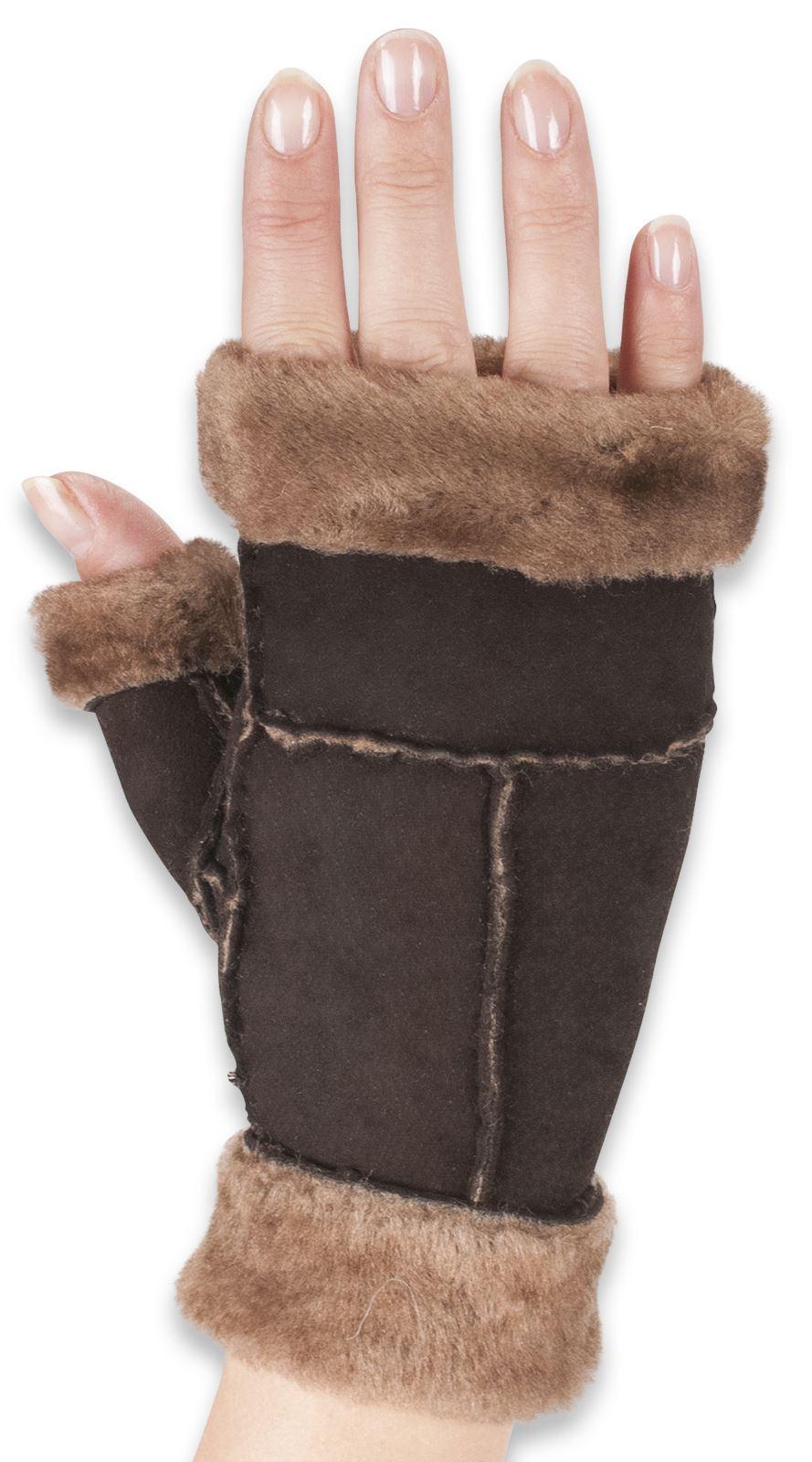 Nordvek Womens Fingerless Genuine Sheepskin Gloves Mittens ...