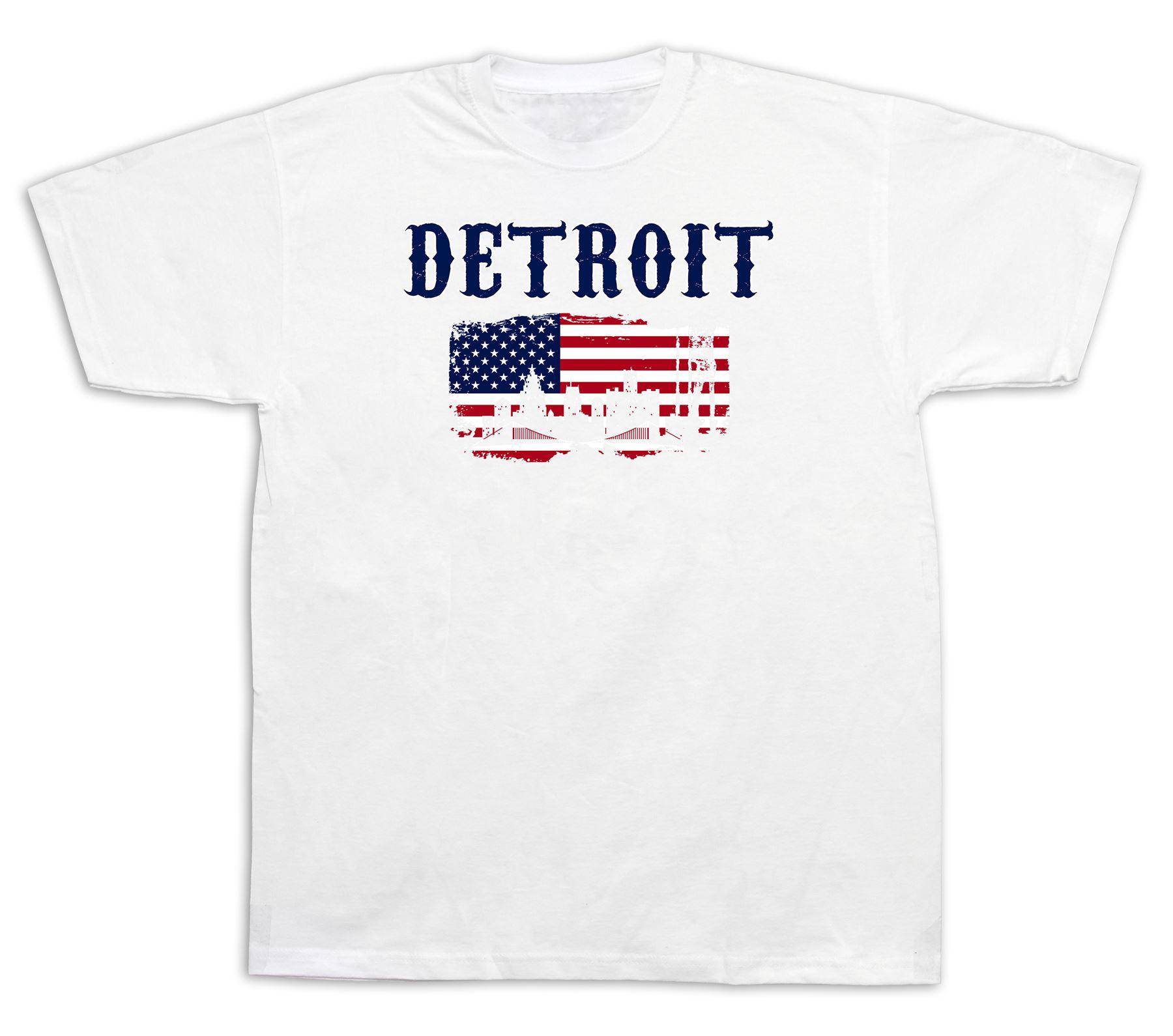Detroit flag souvenir tourist spots city sites t shirt for Best website to sell shirts