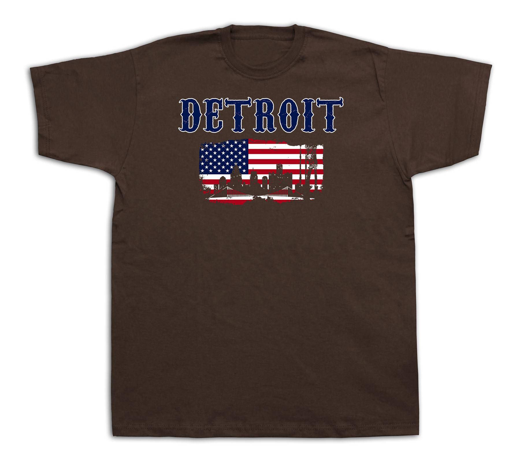 Detroit Flag souvenir tourist spots city sites t shirt funny ...