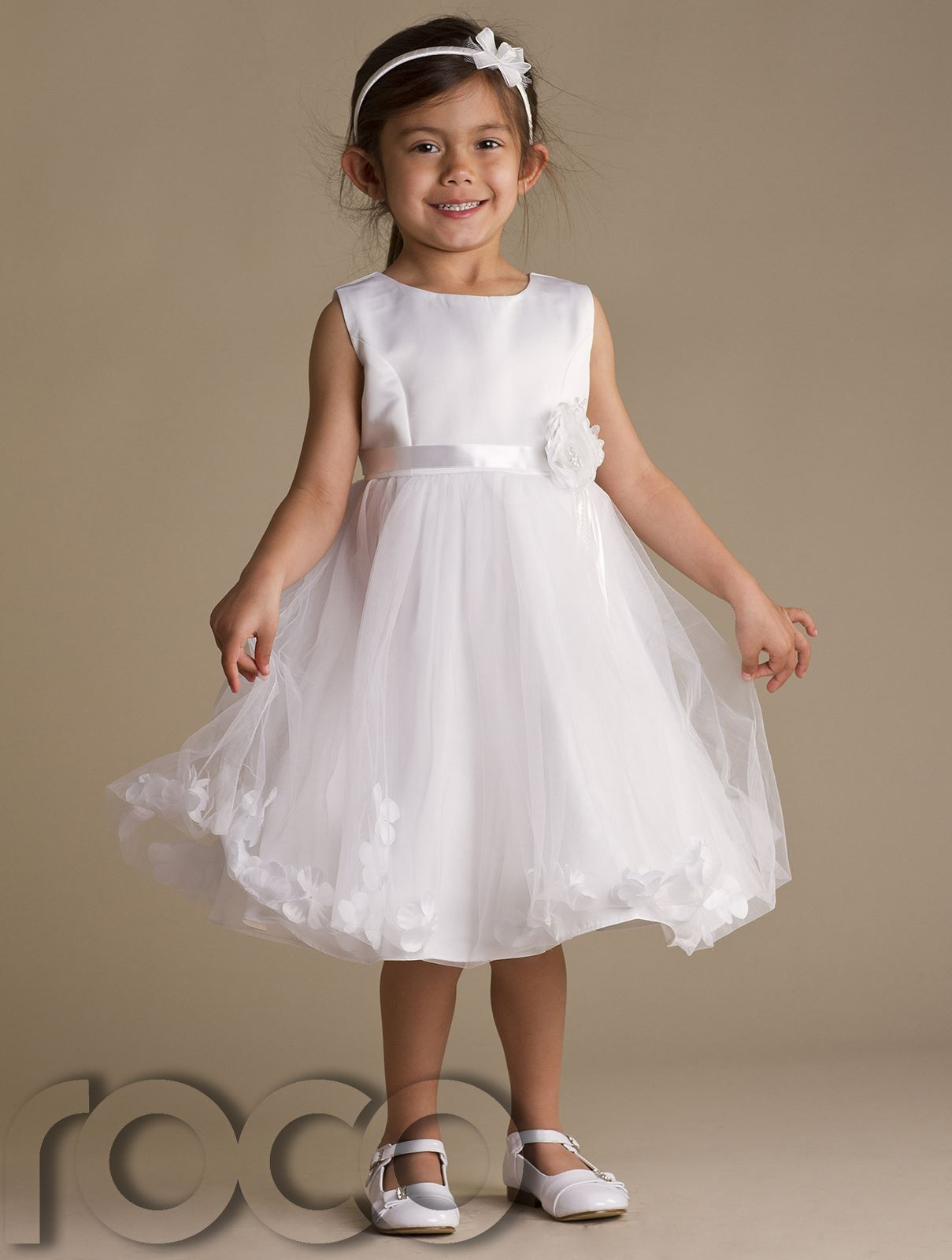 Girls Ivory Cream Petals Dress Pink Flower Girl Dress