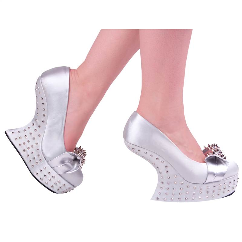 LADIES-WOMENS-HIGH-HEEL-LESS-WEDGE-PLATFORM-SATIN-SPIKE-STUDDED-SHOES-SIZE-3-8