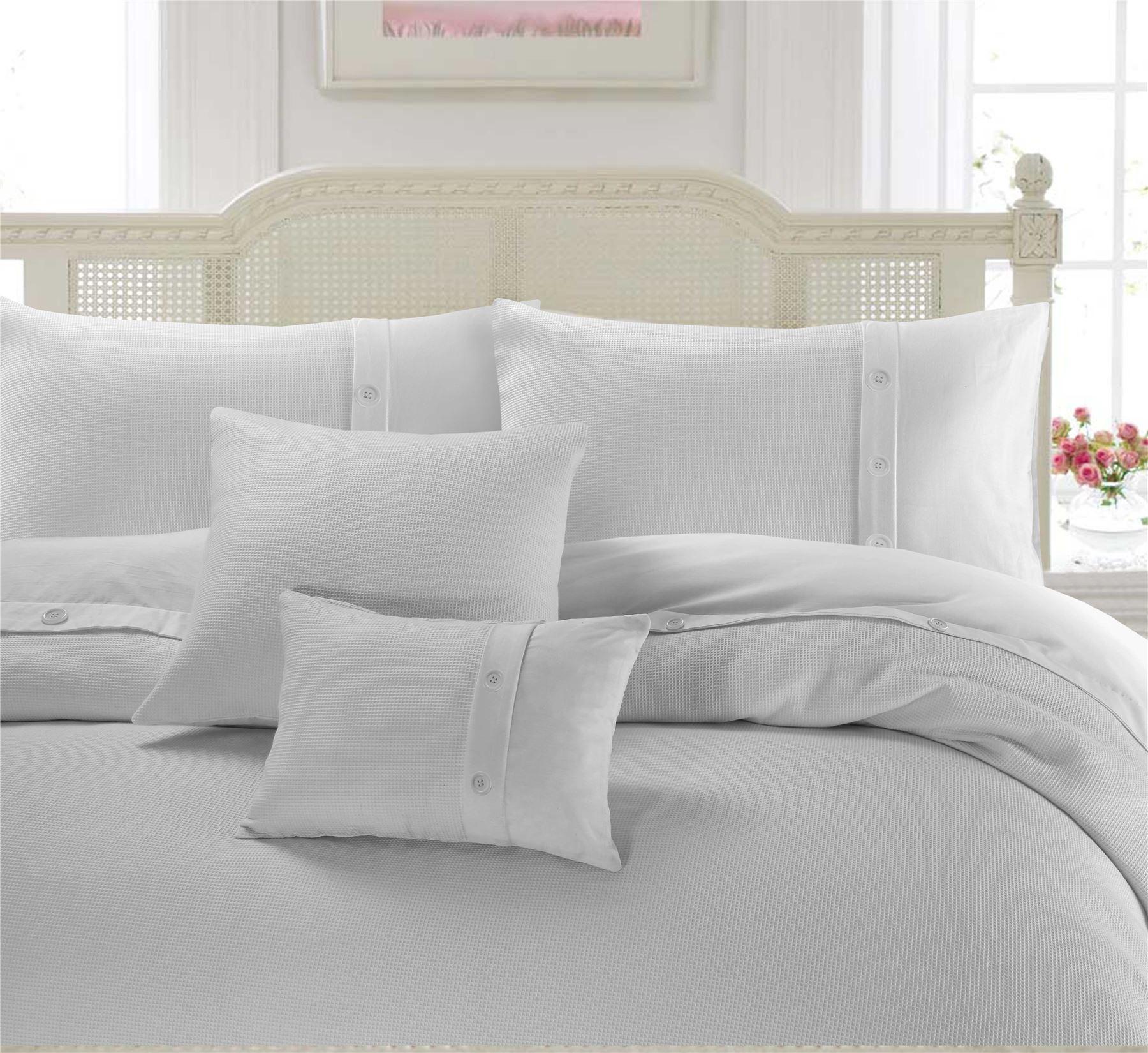 Nimsay Home Bordered Waffle 100 Cotton Duvet Cover Set Ebay