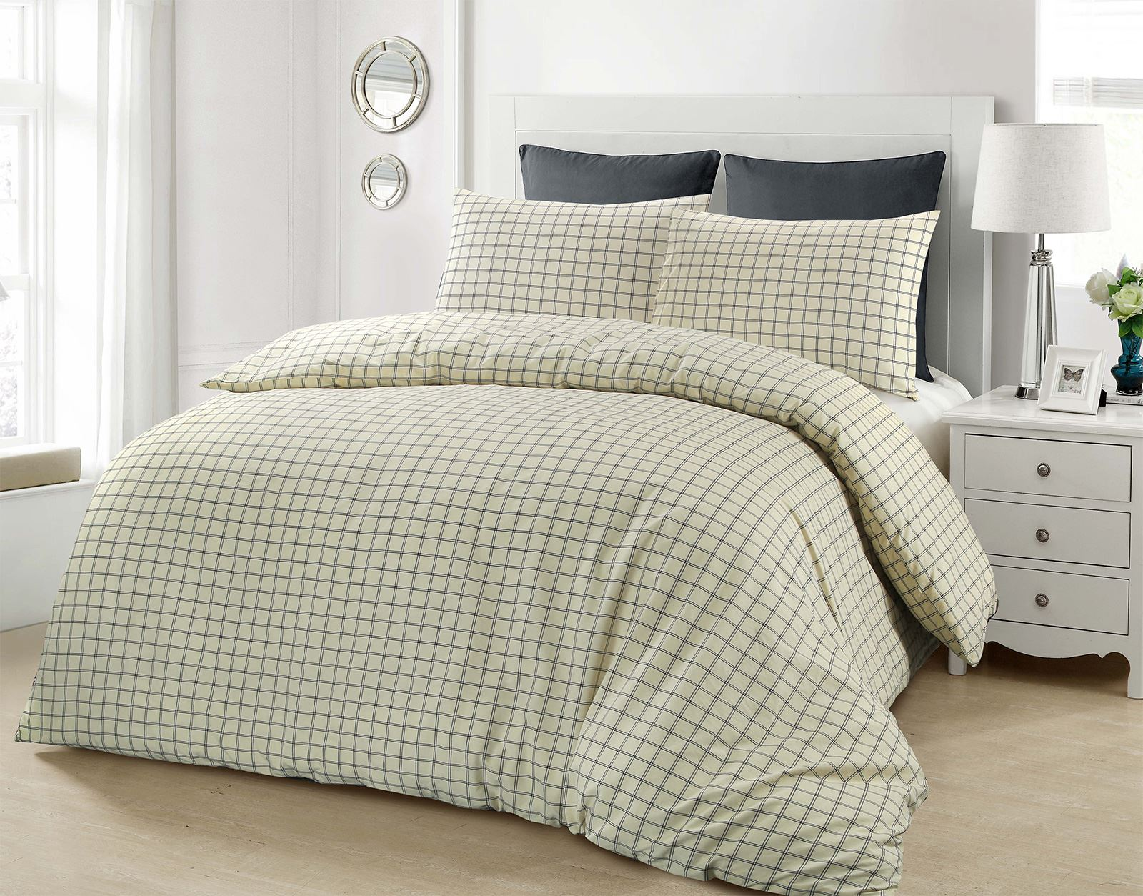 jaipur  cotton woven checked check cream navy blue duvet cover  - jaipur  cotton woven checked check cream navy blue duvet cover beddingset