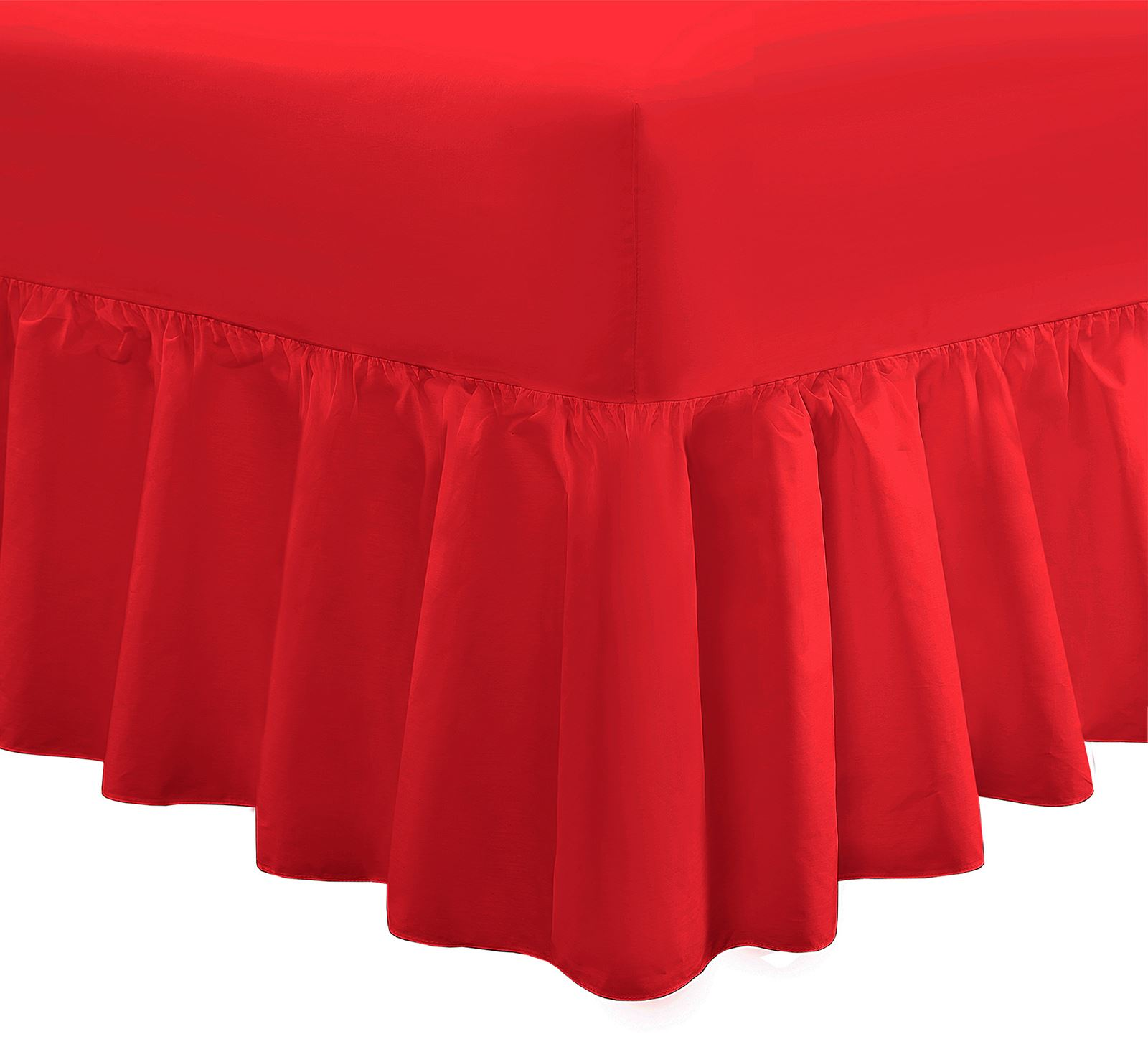plain dyed fitted frilled valance sheet poly cotton bed. Black Bedroom Furniture Sets. Home Design Ideas