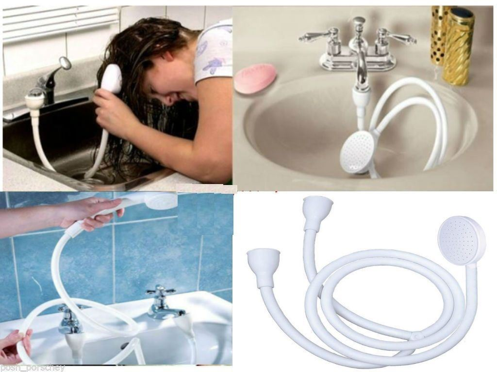 High Quality Double Tap Mixer Fitting Shower Head Strong Rubber Grip Hose Has A Connector That Will Fit Oval Or Round Standard Taps