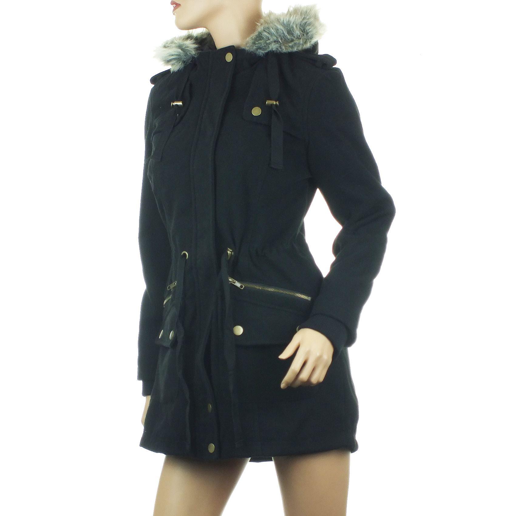 Ladies Parka Coat Womens Winter Jacket Faux Fur Hood Cream Black ...