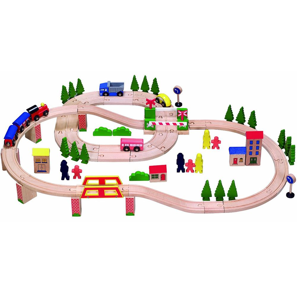 wooden train track set railway cars toy city road childrens kit 75 pieces new ebay. Black Bedroom Furniture Sets. Home Design Ideas