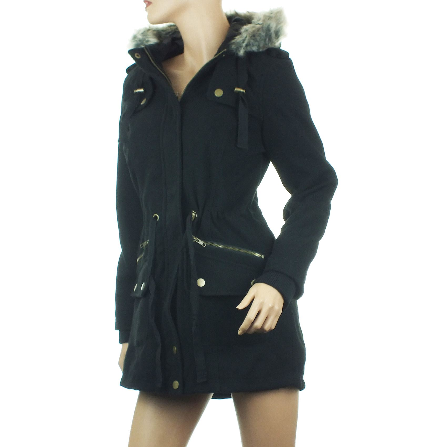 Womens Black Parka Coat Fur Hood - Sm Coats