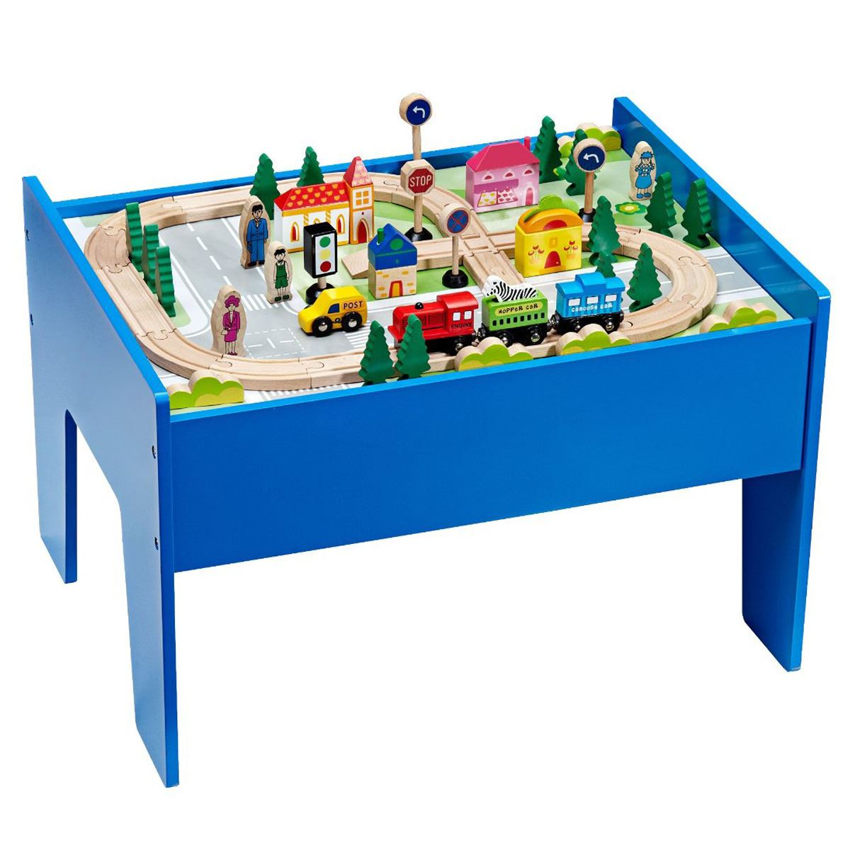 Wooden Train Table Set Track Play Toy Blue 60 Pieces