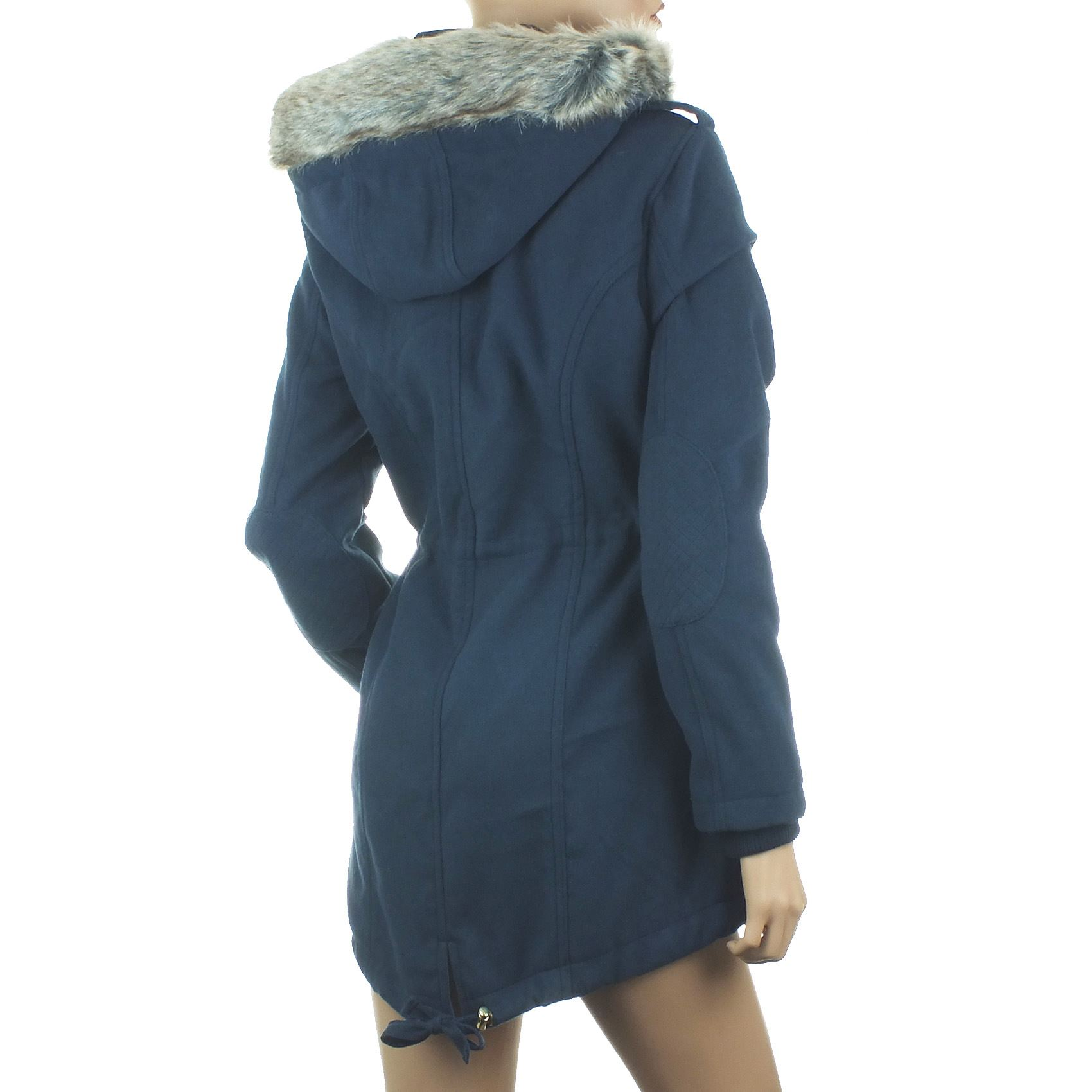 Womens Navy Blue Parka Coat - JacketIn