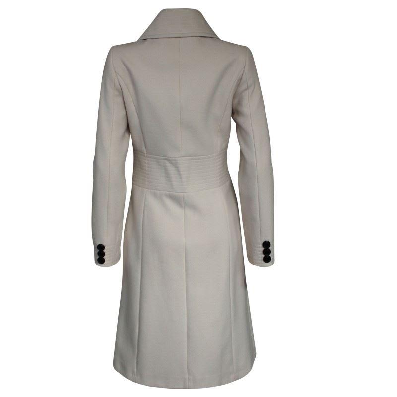 Ex Karen Millen Cream Winter Coat Fitted Smart Warm Jacket ...