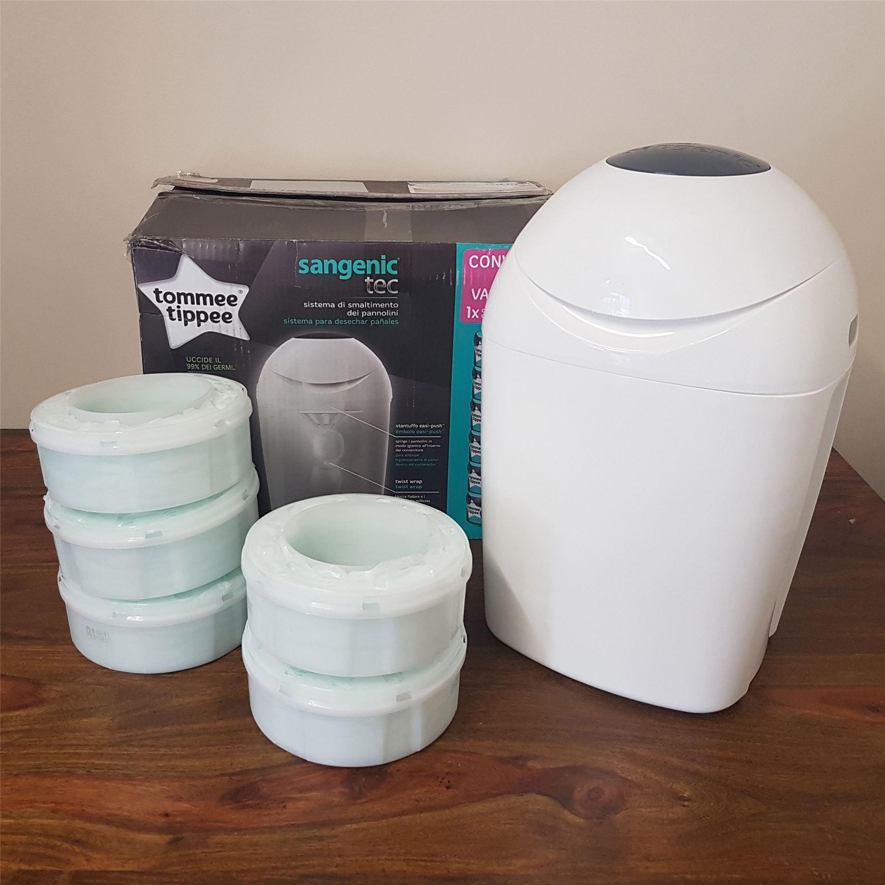 tommee tippee sangenic tec nappy bin starter set kit 6. Black Bedroom Furniture Sets. Home Design Ideas