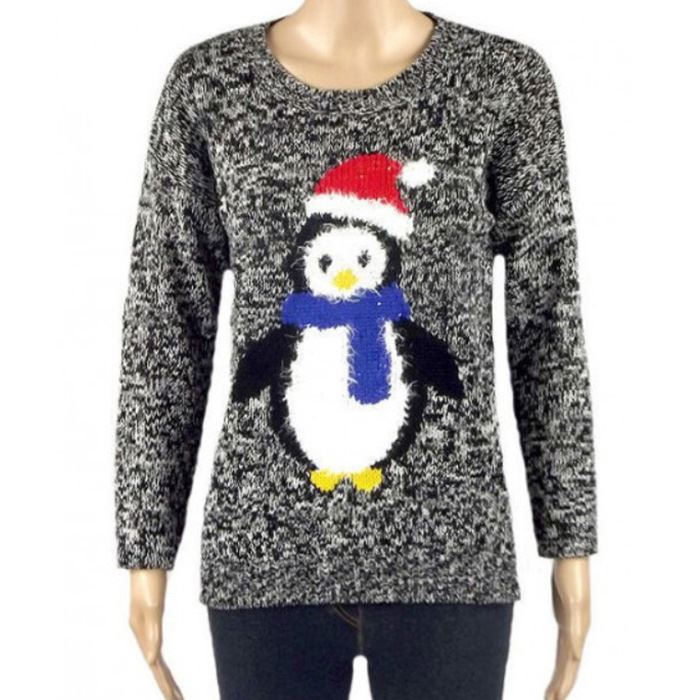 Novelty Christmas Jumpers Knitting Pattern : Ladies penguin christmas jumper grey xmas cute novelty
