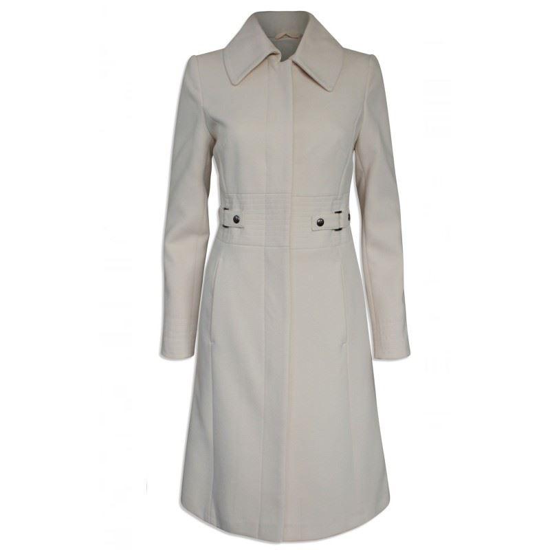 Ex Karen Millen Cream Winter Coat Fitted Smart Warm Jacket