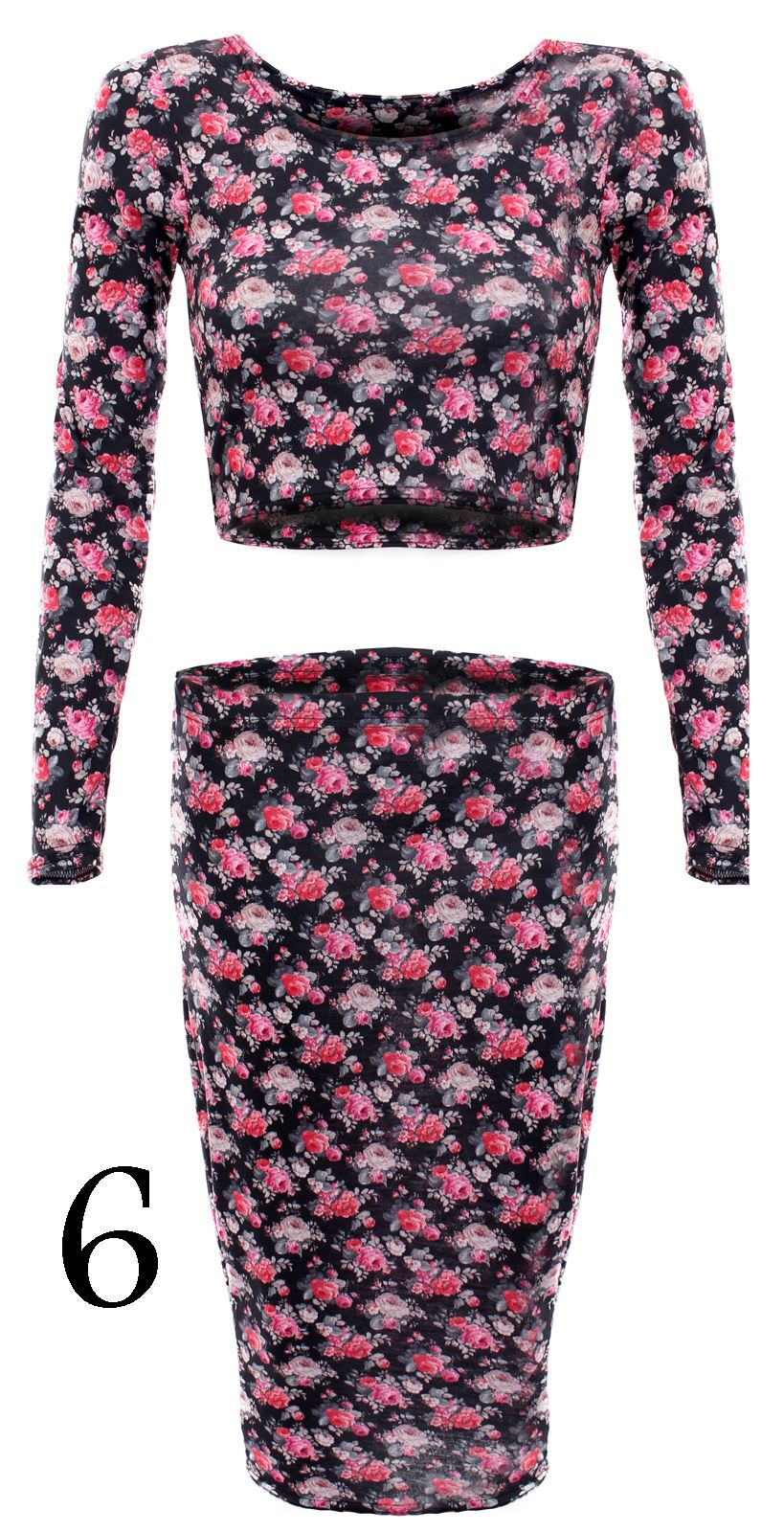LADIES-WOMENS-FLORAL-STRIPED-SKIRT-CROP-TOP-SET-CELEB-STYLE-BODYCON-TOWIE-DRESS