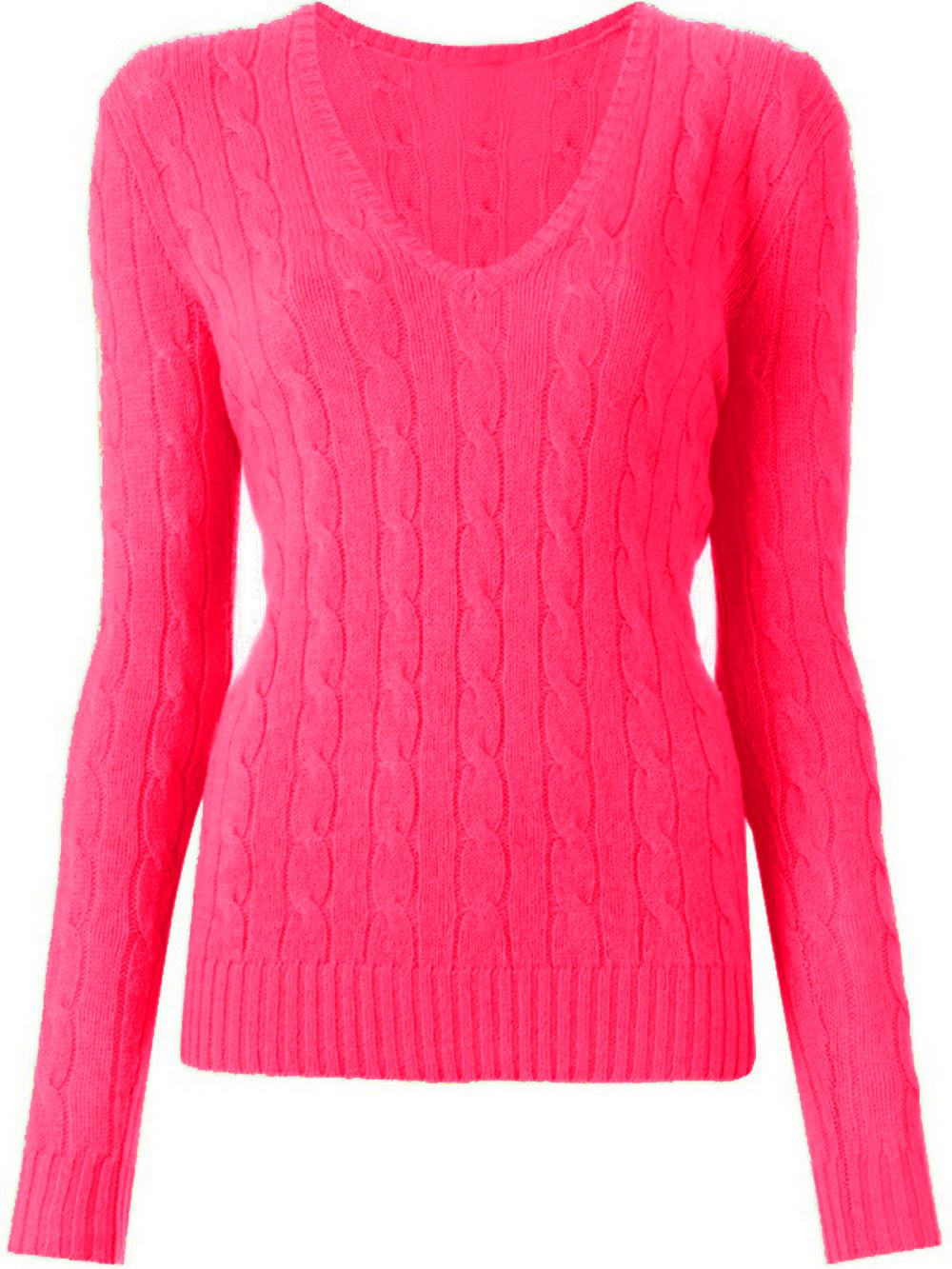 New Women's Ladies Luxury V Neck Cable Knitted Sweater Jumper Top ...