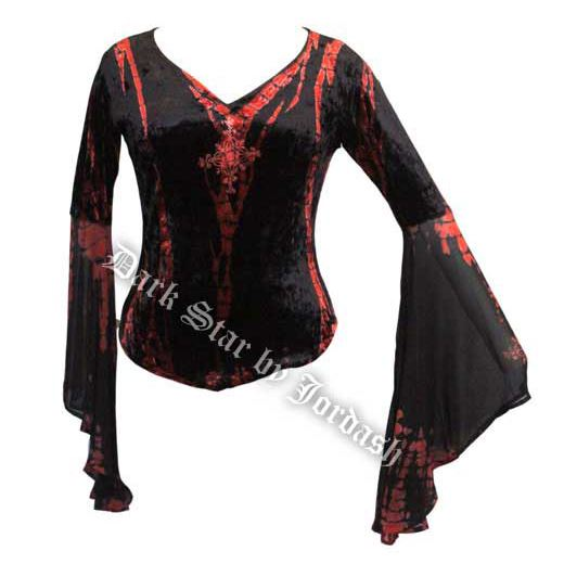 Dark-Star-V-Neck-Velvet-Womens-Gothic-Fantasy-Top-with-Flowy-Sleeves