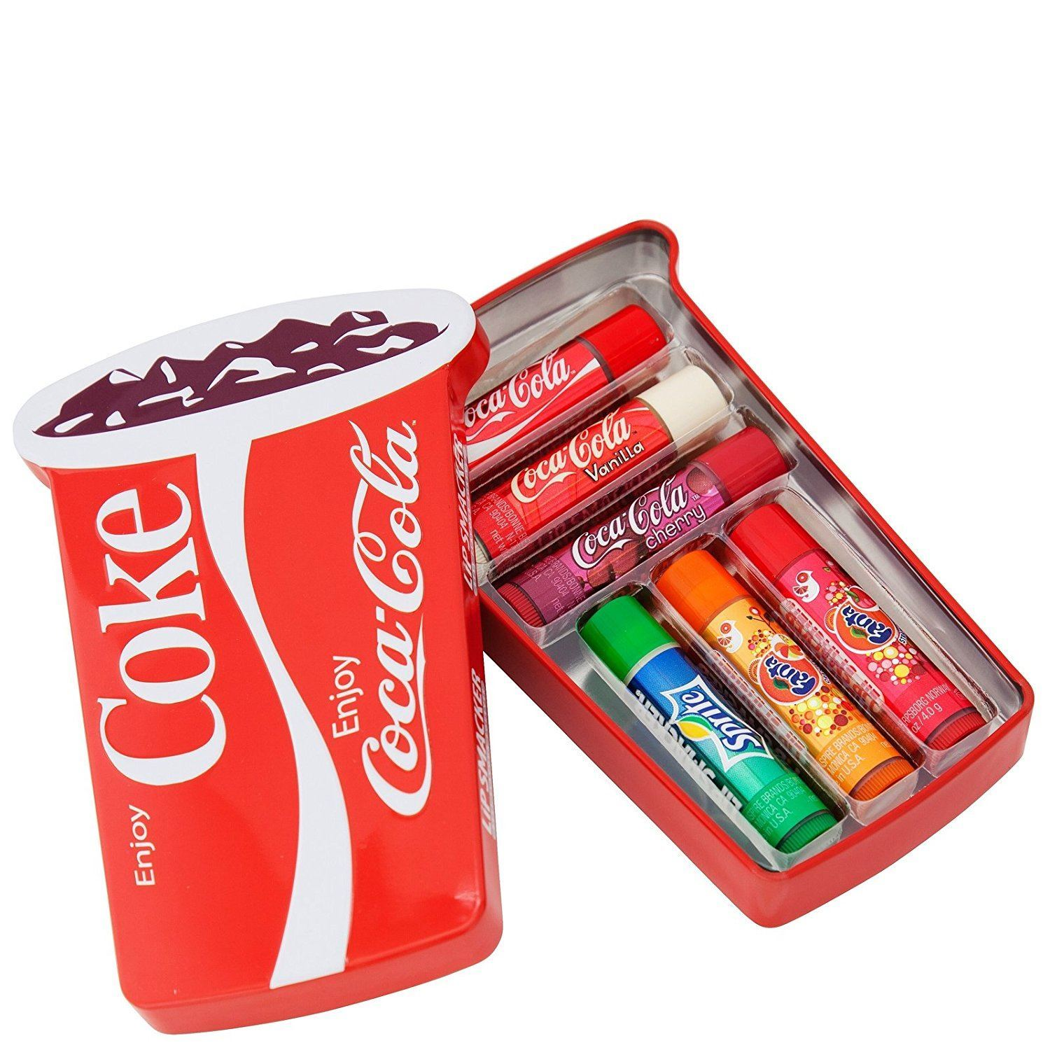 lip smacker 6 piece coca cola cup tin. Black Bedroom Furniture Sets. Home Design Ideas